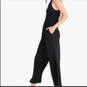 Madewell smocked waist button front black jumpsuit